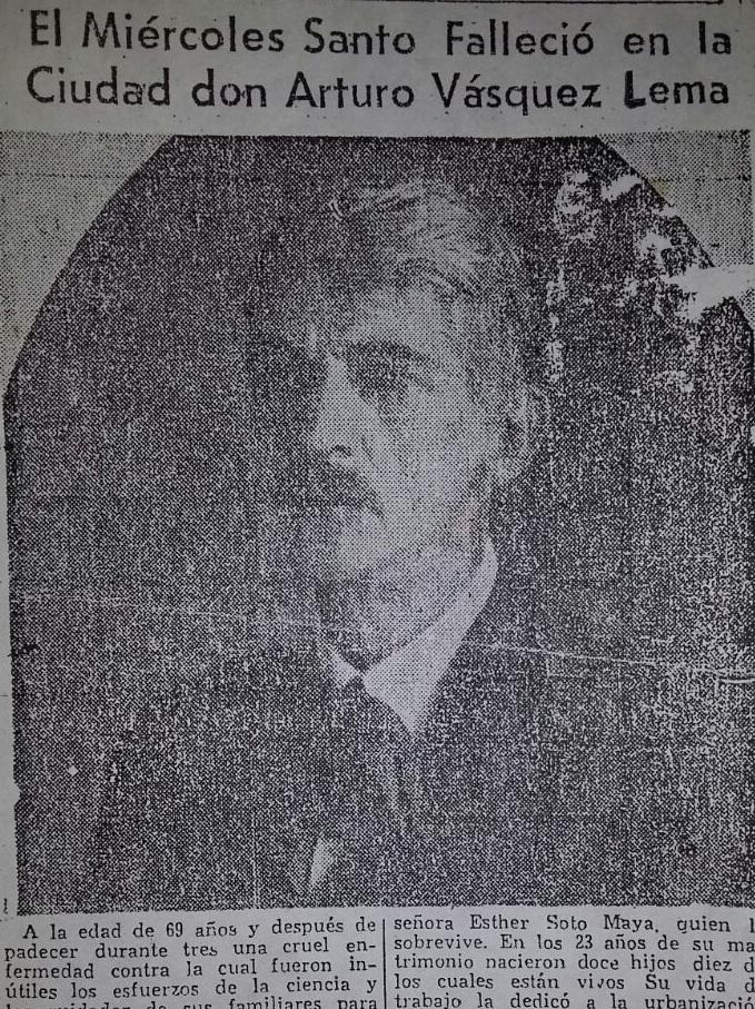 Nota de prensa sobre la Muerte de Arturo Vásquez Lema, fundador del barrio Cristo Rey.